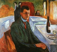 Munch, Edvard (1863-1944) - 1906 Self-Portrait with a Wine Bottle (Munch Museum, Oslo, Norway)