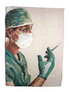 Embroidery Art by Julie Sarloutte Portrait Embroidery, Embroidery Art, Art Textile, Textile Artists, Medical Wallpaper, Nurse Art, Medical Art, Art Sketchbook, Portrait Art
