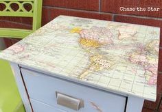 END TABLE WITH DECOUPAGED MAP
