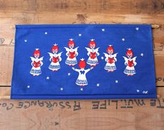 Items similar to Vintage Nina Langebaek angel choir wall hanging - Danish Christmas decor - retro Scandinavian graphic print textile on Etsy Danish Christmas, Scandinavian Christmas, Etsy Vintage, Vintage Items, Vintage Holiday, Textile Prints, Choir, Graphic Prints, Christmas Decorations