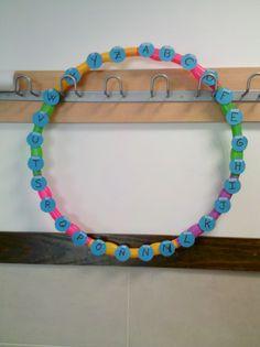 """Juego de Pasapalabra para niños, la """"E"""" y la """"F"""" está mal puestaa!   Recortad círculos rojos y verdes con las letras para ponerlas encima de las azules"""