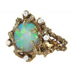 4.20ct Rare Vintage Fiery Australian Opal Diamond 14K Gold Nugget Statement Ring