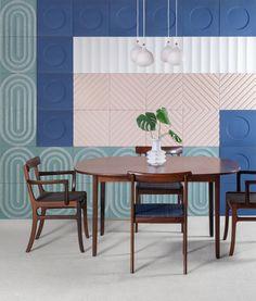 KAZA Concrete Releases a Bauhaus-Inspired Tile Collection by Aimee Munro - Design Milk Bauhaus Architecture, Art And Architecture, Bauhaus Interior, Mosaic Wallpaper, Retro Interior Design, Tiles Texture, Design Competitions, Tile Design, Mosaic Tiles