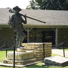 Texas Ranger Hall of Fame and Museum in Waco. The statue is of George Erath, Texas Ranger and surveyor of the Waco townsite.