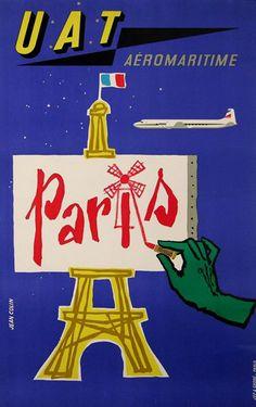 UAT Aeromaritime Paris c. 1955 poster by Jean Colin Air France, Tour Eiffel, Paris Poster, Vintage Graphic Design, Vintage Paris, Vintage Travel Posters, Cool Posters, Paris Travel, Vintage Advertisements