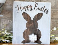 Easter Decor Easter Bunny Wooden Sign Easter by CraftDayGB on Etsy