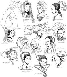 Tudor / Renaissance Headwear Fashions - Illustration Insperation