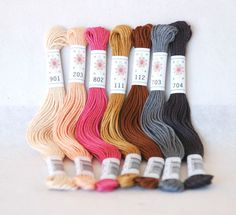 Embroidery Floss Portrait Pallete  7 Skeins Pack by CraftyWoolFelt