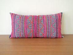 """12"""" x 24"""" Lumbar Vintage Batik Hmong Hand-Stamped Cotton Pillow Cover, Indigo…"""