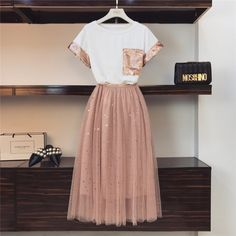 2019 Summer Women Pink Sequined Pocket Short-sleeved Cotton T-shirt + Star Sequins Long Mesh Skirt Set Girls Cute Two-piece Sets – T-Shirts & Sweaters Girls Fashion Clothes, Teen Fashion Outfits, Fashion Dresses, Fashion Mode, Girl Fashion, Korean Fashion, Mode Kpop, Mesh Skirt, Lace Skirt