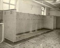 gym communal showers bathroom locker room sport exercise school college - Did you always shower after school sports lessons? Locker Room Bathroom, College Bathroom, Bathroom Spa, Bathroom Ideas, Gym Showers, Open Showers, Locker Room Sports, Public Shower, Vintage Lockers