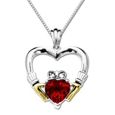 "TOPSELLER! XPY Sterling Silver and 14k Yellow Gold Created Ruby Claddagh Pendant Necklace, 18"" $69.00"