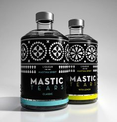 Dolphins // Communication design create liqueur package design of authentic mastic. Design inspired by the black and white geometric decoration on the building facades of Chios mastic villages, such as Pyrgi. Design Visual, Web Design, Label Design, Branding Design, Graphic Design, Package Design, Beverage Packaging, Bottle Packaging, Pretty Packaging