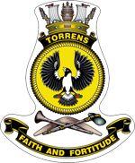 HMAS Torrens crest Ship Logo, Australian Defence Force, Royal Australian Navy, Ship Paintings, Armada, Submarines, Crests, Royal Navy, Stickers