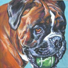 Boxer dog art CANVAS print of LA Shepard painting by TheDogLover, $39.99