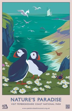 London design agency Hatched brought back the nostalgic travel poster design style with these Pembrokeshire coast national park summer and autumn campaigns. Posters Uk, Railway Posters, Illustrations And Posters, Vintage Poster, Vintage Travel Posters, Vintage Postcards, Party Vintage, Vintage Diy, Pembrokeshire Coast