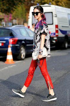 red leather. #IreneKim in Paris.