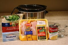 Reduced Fat Cream Cheese 1 package frozen broccoli 1 can Fat Free Cream of Chicken cup Water 1 package Italian Dressing Mix Slow Cooker Creamy Chicken, Creamy Italian Chicken, Crock Pot Slow Cooker, Crock Pot Cooking, Slow Cooker Recipes, Crockpot Recipes, Cooking Recipes, Chicken Cooker, Crockpot Chicken Italian Dressing
