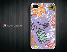 purple red bird pattern Rubber case iphone 4 case by Atwoodting, $6.99