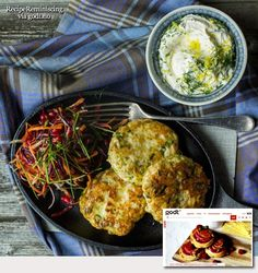 Pollock Patties with Raw Vegetables and Herb Dressing / Seikaker med Råkost og…