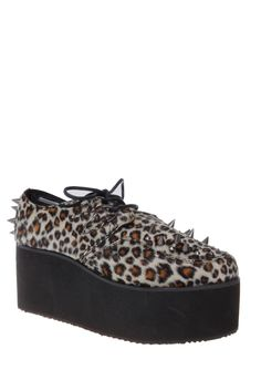 Get this girl's statement footwear with these leopard platform shoes from Hot Topic!  http://thewalkblog.tumblr.com/post/66101056292/what-we-love-this-girls-statement-sweater-and#notes