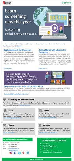 Learn Something New this Year, Upcoming Collaborative Courses.  Free Modules to teach photography, graphic design, publishing, UX & UI Design, and Video & Audio Production.  #InfoNetTrain #Newslettter #Adobe #SomethingNew #Collaborative #Courses #Modules #Teach #GraphicDesign #Photography #VideoEditing #AudioProduction #uiDesign #uxDesign
