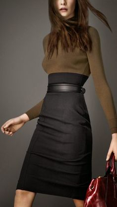 Burberry: Love this dress: the shape, the two-tone black & brown, and of course the quality.