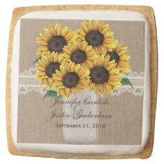 #Rustic Burlap Sunflower Country Mason Jar Wedding Square Shortbread Cookie - #Chocolates #Treats #chocolate