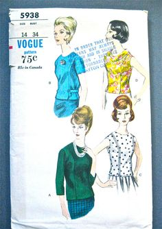 Vogue 5938 Vintage 1960's Misses Overblouse Pattern  by Fancywork, $8.95