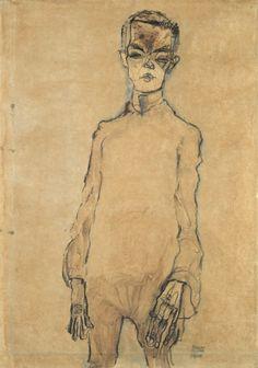 Portrait Illustration Egon Schiele - Self-Portrait - Dessins Egon Schiele, Egon Schiele Drawings, Gustav Klimt, Life Drawing, Figure Drawing, Painting & Drawing, Egon Schiele Zeichnungen, Carl Spitzweg, Art Moderne