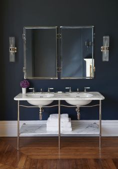Martin Brudnizki conceived the Ladybower with simplicity in mind. Elegant, light and modern, it uses classic white Arabescato marble and brassware in a pared-back design. drummonds-uk.com