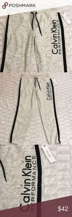 Calvin Klein Performance Jogger Sweatpants NWT LG Calvin Klein Performance Jogger Sweatpants. Size-Large. Calvin Klein Performance gives you a fresh look in classic comfort in these sleek sweatpants. They're equally at home during a yoga class as they are during down time. Pull on styling with drawstring. 60% Cotton 40% Polyester. BRAND NEW WITH TAGS Calvin Klein Pants Track Pants & Joggers