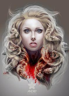 Pintura Digital by Paolo Andrey - Medusa illustration. Medusa Kunst, Medusa Art, Medusa Gorgon, Medusa Drawing, Medusa Tattoo, Giovanni Boldini, Damien Hirst, Pierre Puget, Greek Monsters