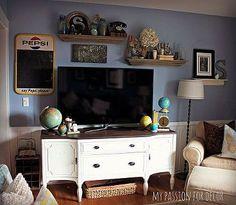 craigslist buffet turned media cabinet, painted furniture, Buffet turned media cabinet
