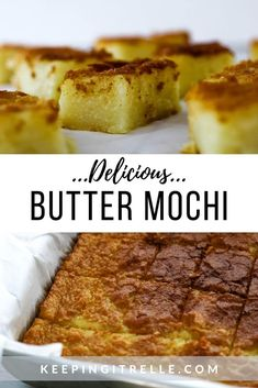 Chewy, buttery goodness wrapped up in bite sized pieces sure to leave you wanting more. BUTTER MOCHI, I mean if there's butter involved, it must be good right? Hawaiian Desserts, Asian Desserts, Just Desserts, Gourmet Desserts, Plated Desserts, Japanese Desserts, Filipino Desserts, Filipino Recipes, Samoan Recipes