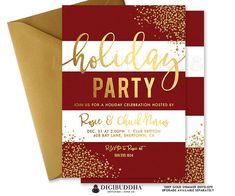 Christmas Holiday Party Invitation in red and white stripe with festive gold glitter confetti dots. Choose from ready made printed invitations with envelopes or printable holiday party invitations. Gold shimmer envelopes and matching envelope liners available at digibuddha.com
