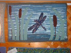 At the pond  2x3' rug made by Carmen Hall using RC speed tufting tool.  Made from recycle garments.
