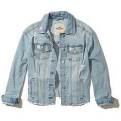 Hollister Oversized Denim Jacket (€52) ❤ liked on Polyvore featuring outerwear, jackets, ripped light wash, blue jean jacket, oversized jean jacket, distressed jean jacket, pocket jacket and oversized denim jacket