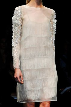 Fringe under Sheer Chiffon ,  Hidden Beauty under Sheer Dress Trend for Spring Summer 2013.  Alberta Ferretti Spring Summer 2013.    #fashion #trends