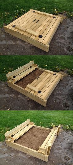 Carré de sable (sandbox) home made - avec couvercle et banc rabatable (folding seats)