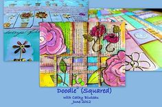 Doodble Squared online class by Cathy Bluteau combines doodle and collage.  Purchase from Creative Workshops