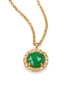 MIJA Jade & White Sapphire Button Pendant Necklace