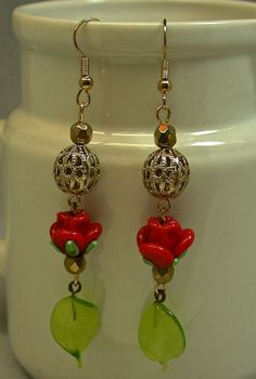 Vintage Glass Red Rose Flower Bead Earrings by ForeverInStyle, $36.00