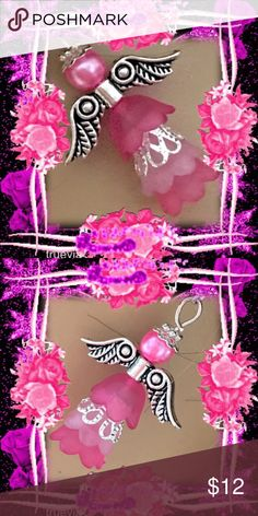 🌺🌴🌺 HANDMADE ANGEL EARRINGS 🌺🌴🌺 🌺🌴🌺 These earrings were originally handcrafted with a little whimsy.  The pink angel has a four tiered skirt with two shades of pink and one with silver filigree.  On top of her silver wings is her pearl face and little silver hat.  This is something that can be worn all year long to represent an event in your life.  Xmas is also a great time to wear and also give as a gift. 🌺🌴🌺 Fashion Flair Jewelry Earrings