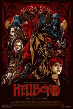 Beautifully designed Hellboy II poster by Melbourne based illustrator and designer Ken Taylor, for the Alamo Drafthouse @ Mondo. Magnifique poster de Hellboy II par l'Australien Ken Taylor, pour l'Alamo Drafthouse chez Mondo. via OMG Posters Omg Posters, Cinema Posters, Film Posters, Hellboy Movie, Hellboy Comics, Marvel Comics, Ken Taylor, Golden Army, Silkscreen