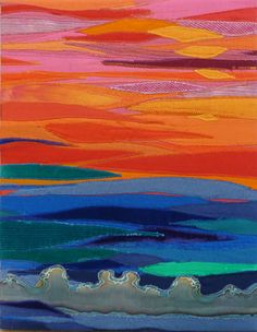 """The Day's Ending 2  14 x 18"""" fiber collage  by Jo Reimer"""