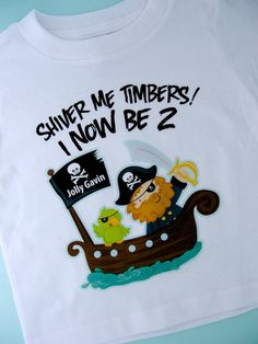Two Year Olds Pirate Birthday Shirt by ThingsVerySpecial on Etsy, $14.99