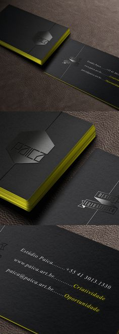Black minimalism card with a bright yellow edge painted finish. Created by Estudio Paica