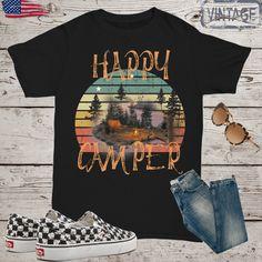Happy camper t shirt,sunset tshirt,vintage t-shirt,summer tee,retro t shirt,camping t shirt,hiking t shirt, beach camping,tee shirt by Bulwar on Etsy Teachers' Day, Fishing Gifts, Beach Camping, Tee Shirts, Tees, Happy Campers, Funny Tshirts, Retro, Mens Tops