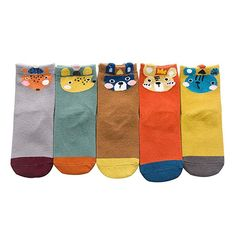 $11 for 5 pairs = $2.20 each - Rallytan Childrens Cartoon Socks Novelty Animal Print Ankle Sock 5 Pair Pack,Shoes Size 8.5-11M Toddler-Little kid/M/3-5 years